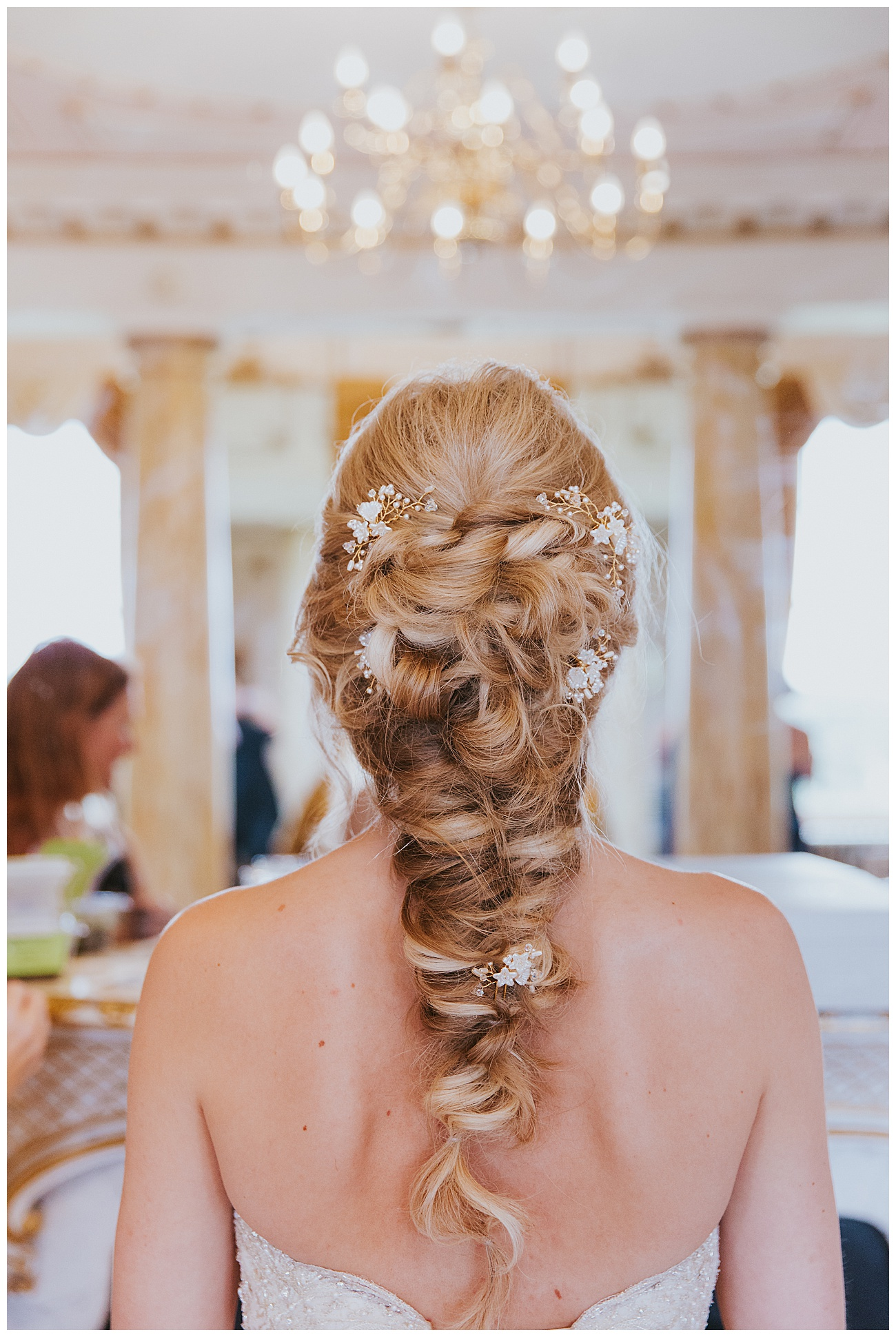 The back of the hair of the bride