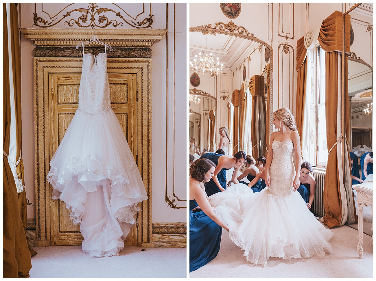 Picture of the hanging wedding dress and the bridesmaids fluff the dress for the bride next to a large mirror