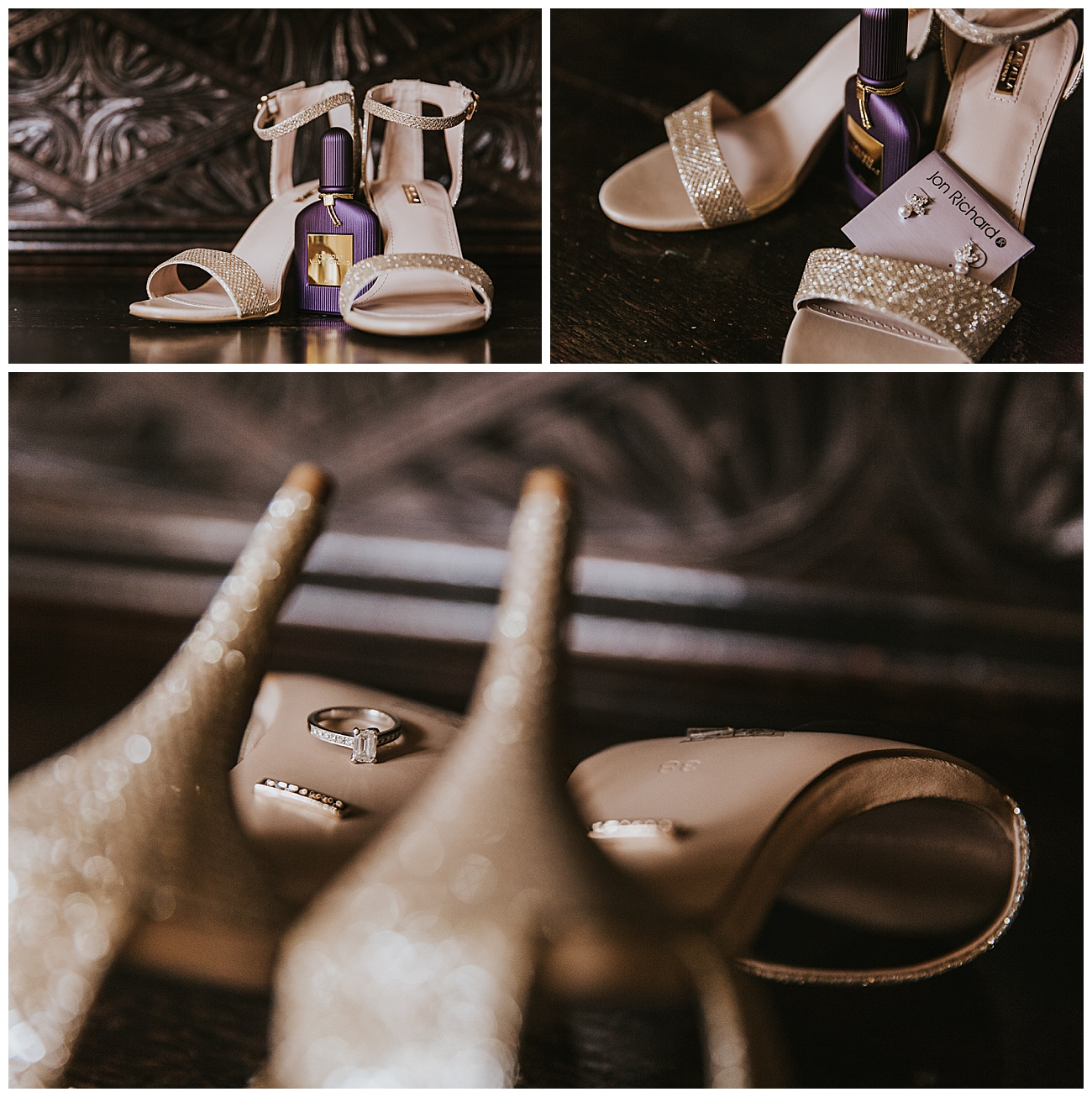 The brides wedding shoes, perfume, earrings and rings