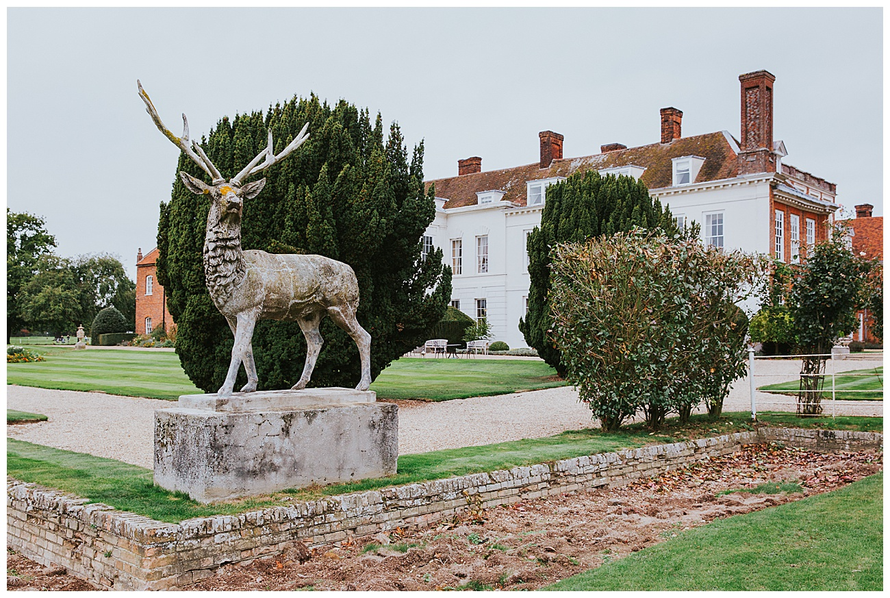 The famous statue of the stag outside in the Gosfield hall grounds