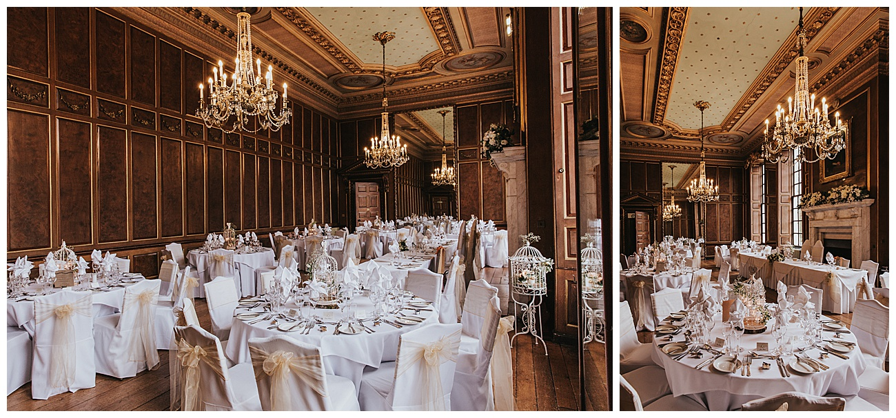 overall view of the wedding breakfast room and all the details