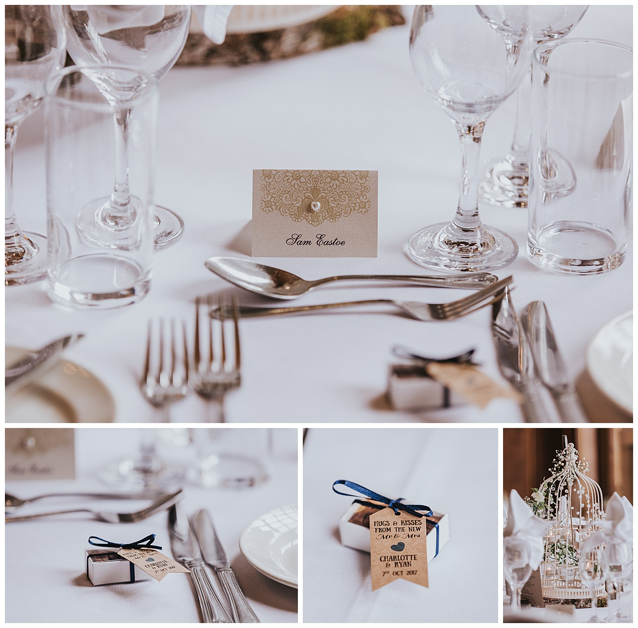 detail shots of the wedding breakfast tables
