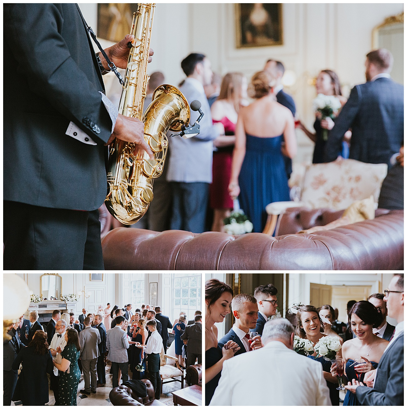 A saxophone player plays to the wedding guests as they enjoy drinks and canapes