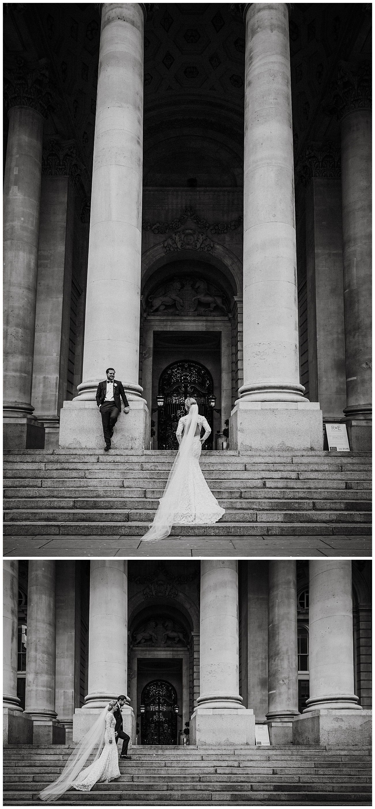 The bride and groom pose in a black and white image on the steps of the Royal exchange in London