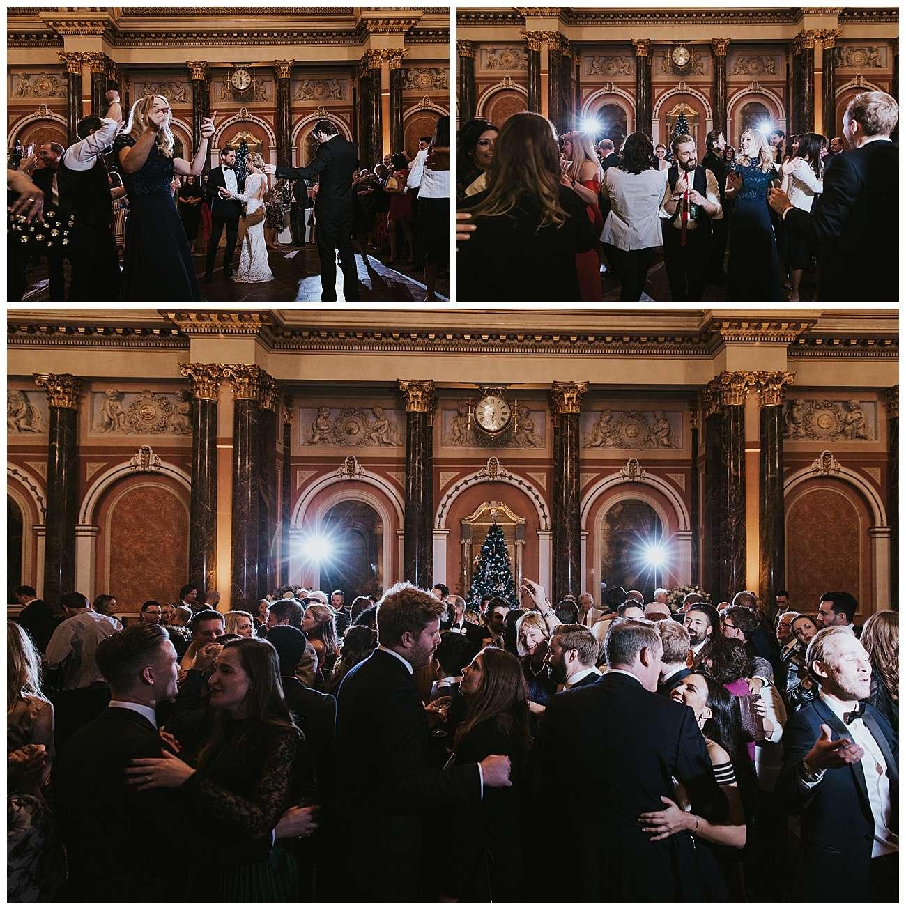 Wedding guests dance on the dance floor
