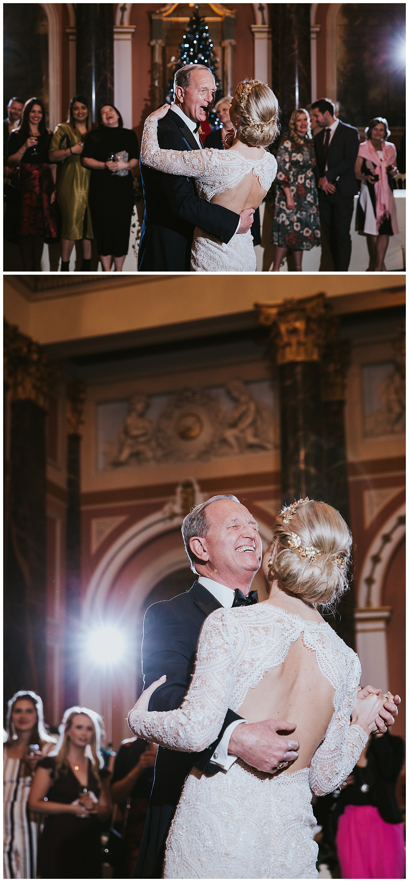 The bride and her dad dance on the dance floor