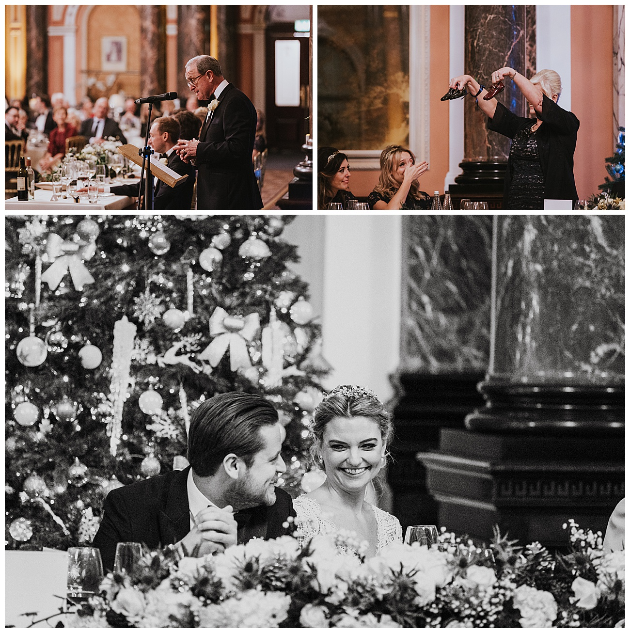 The bride and groom laugh as the brides mother and father do their speeches during the wedding breakfast