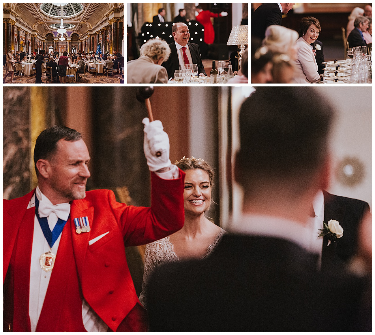 The bride and groom enter the reception room with their toastmaster as the guests welcome them