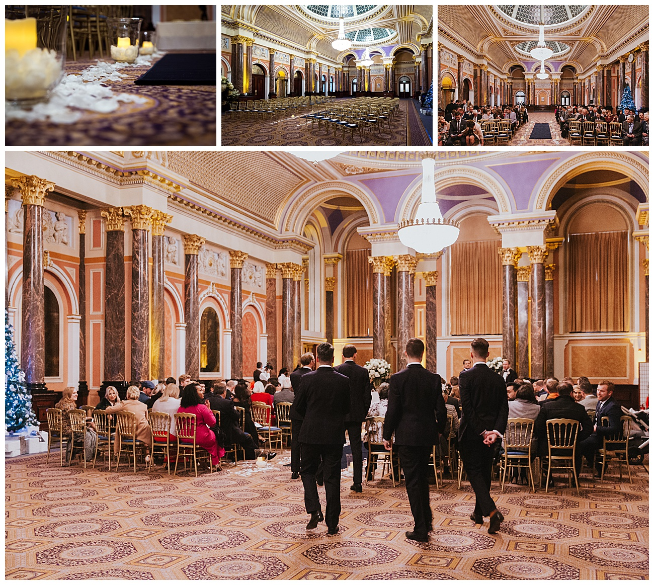 Pictures of the ceremony room setup and the guests arriving