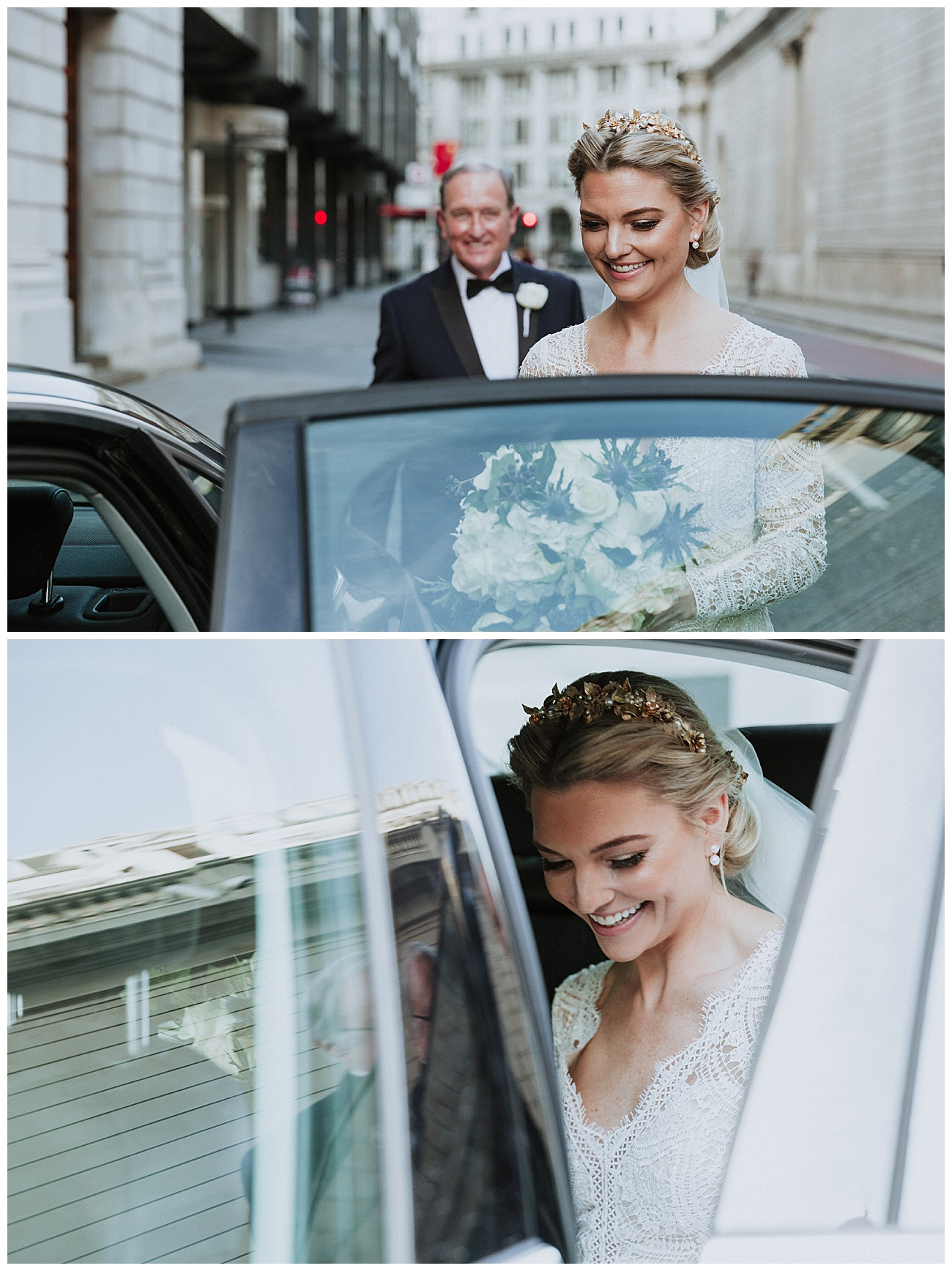 The happy bride gets into her wedding car with dad helping her with the door