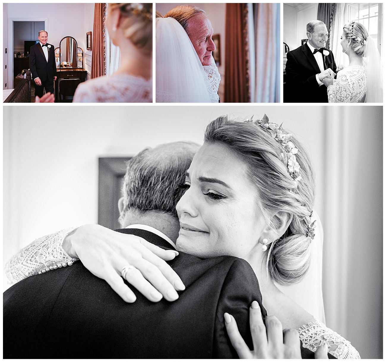 Bride sees her dad for the first time in an emotional embrace between the 2