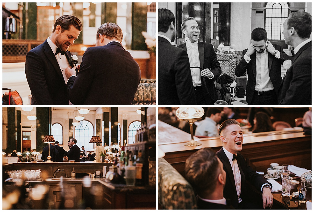 The groom gets ready and laughs with his groomsmen in the restaurant area at the Ned.