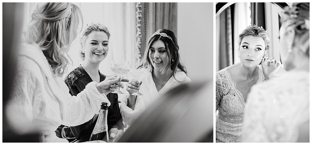 Bride enjoys drinks with her bridesmaids