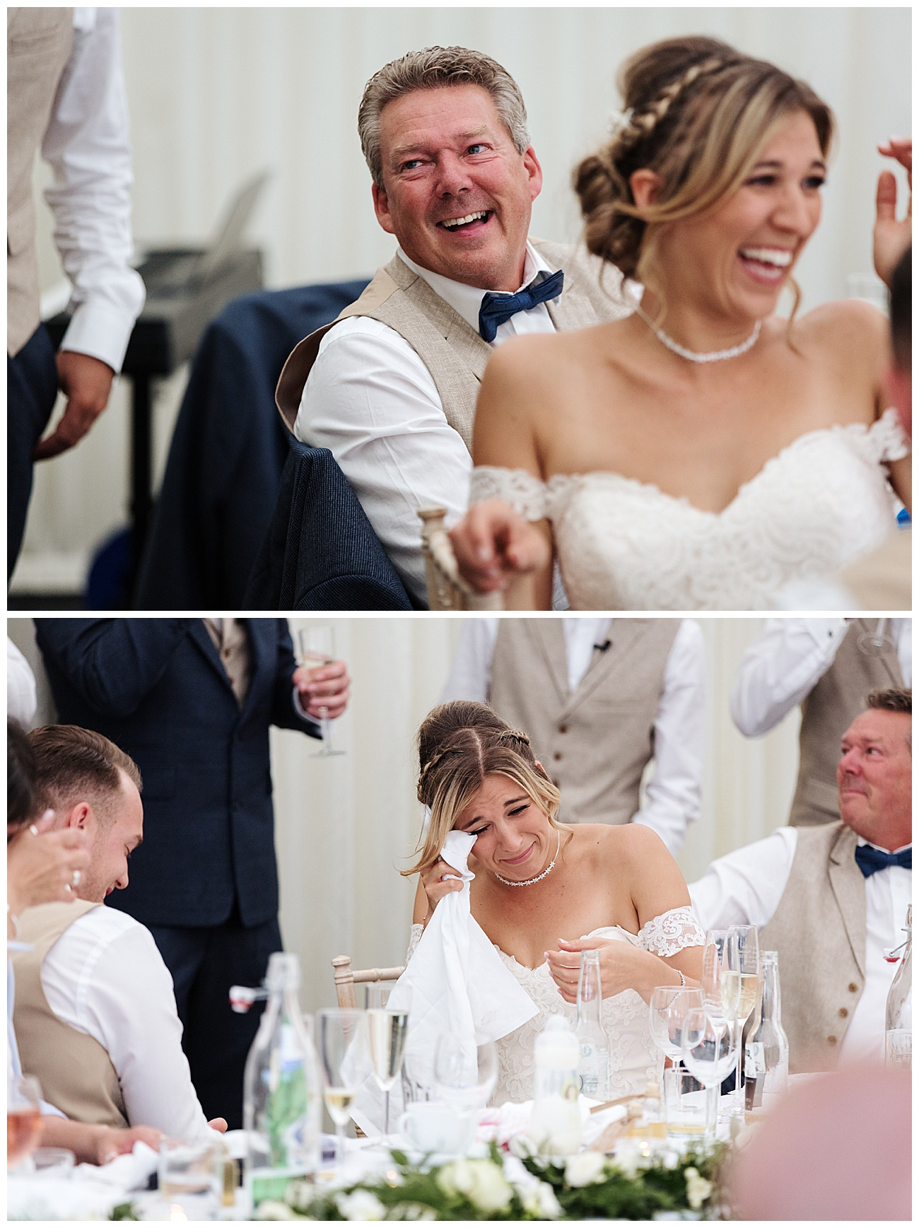 The bride gets emotional during the speeches