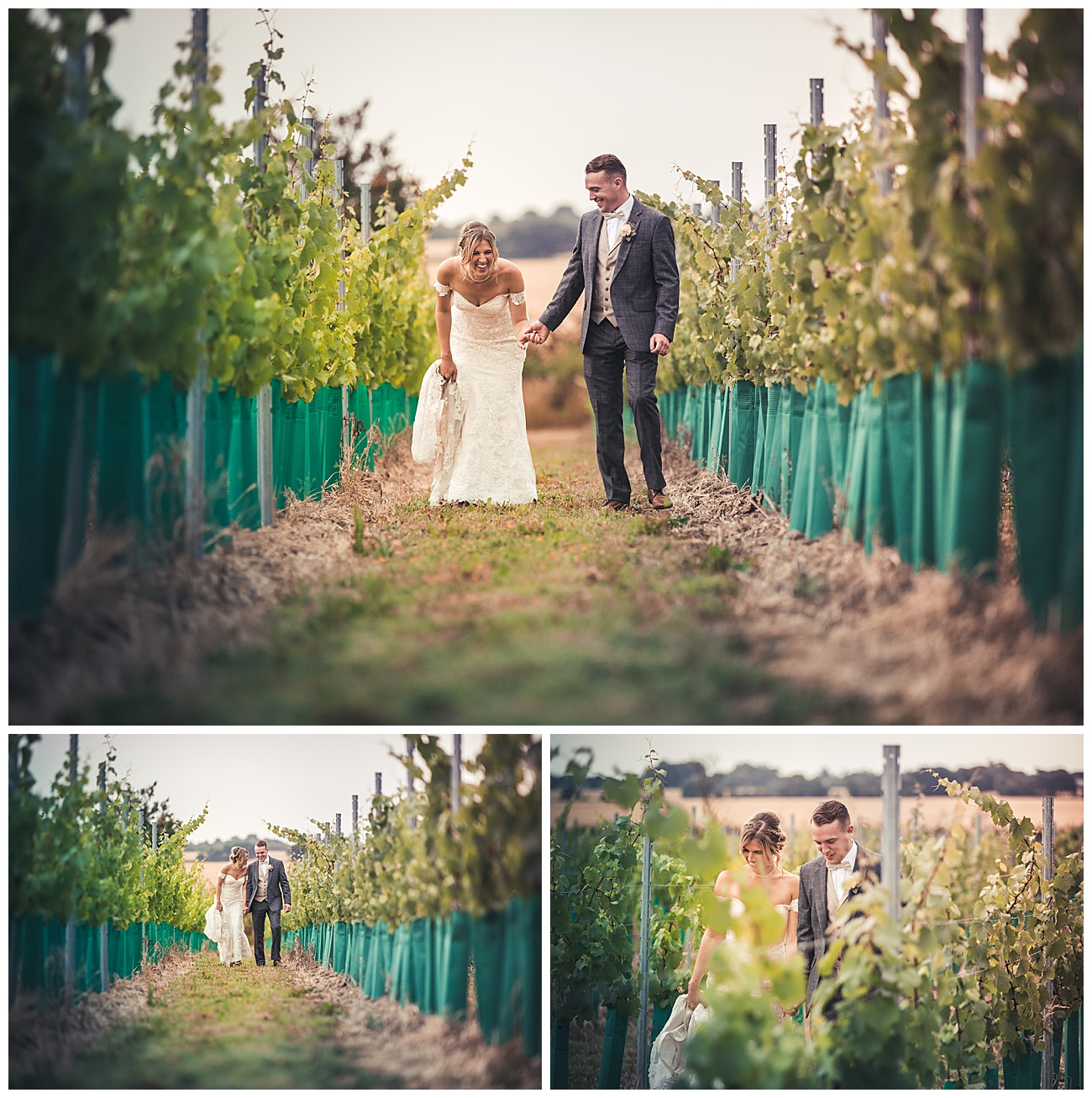 The bride and groom laugh and walk through the vineyards at high house
