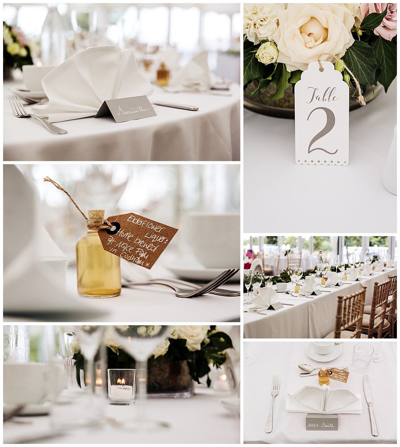wedding table details at high house wedding venue