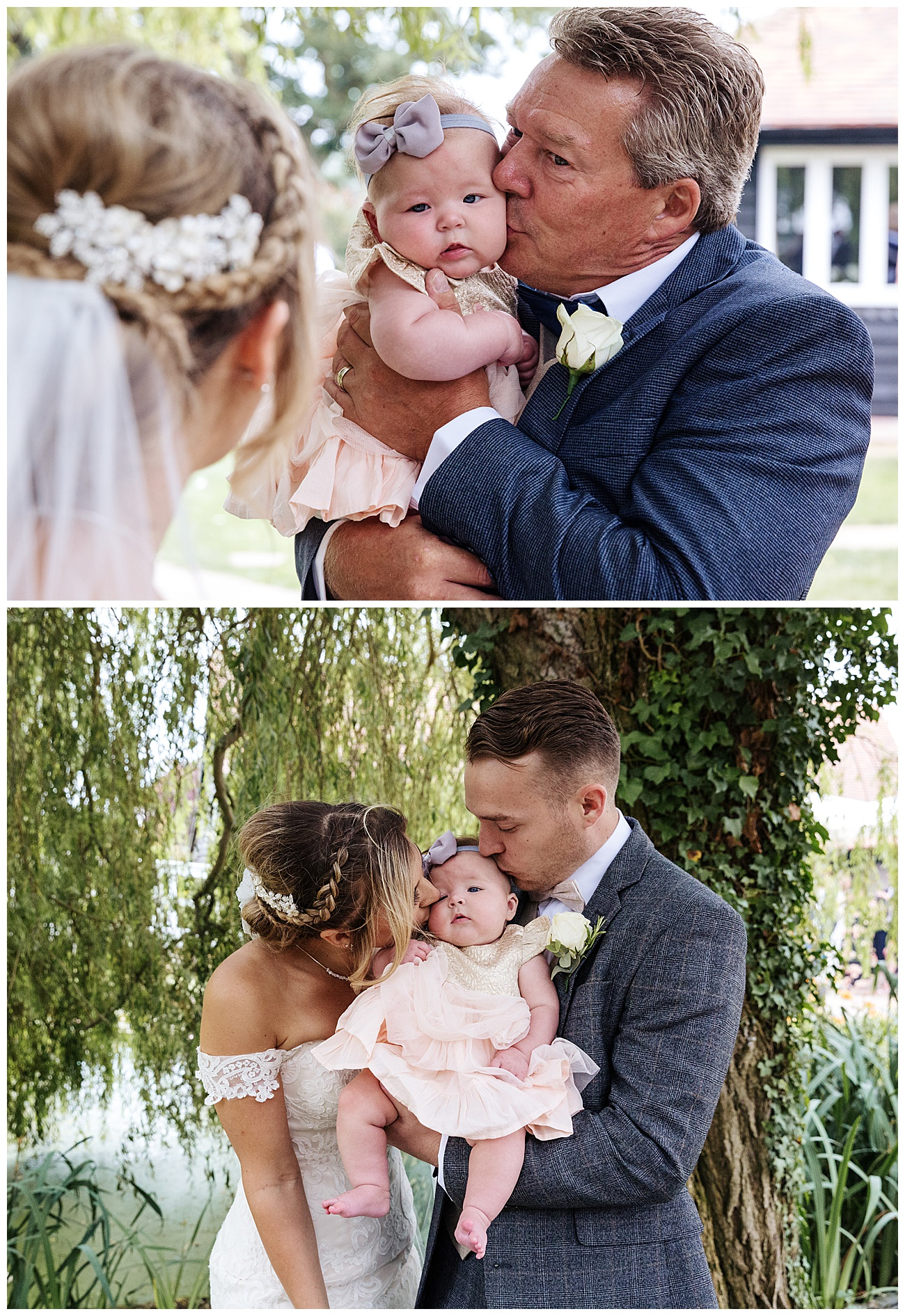 Father of the bride and the bride and groom kiss their baby