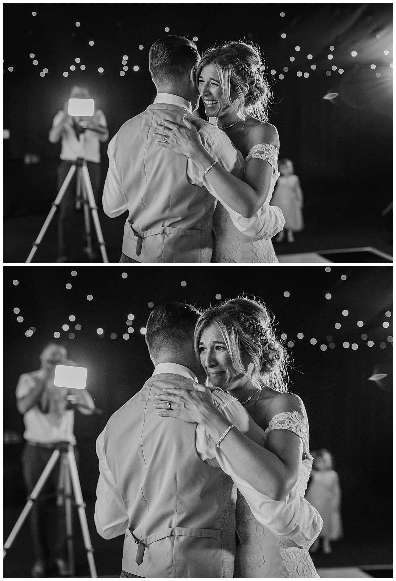 The bride cries during their first dance