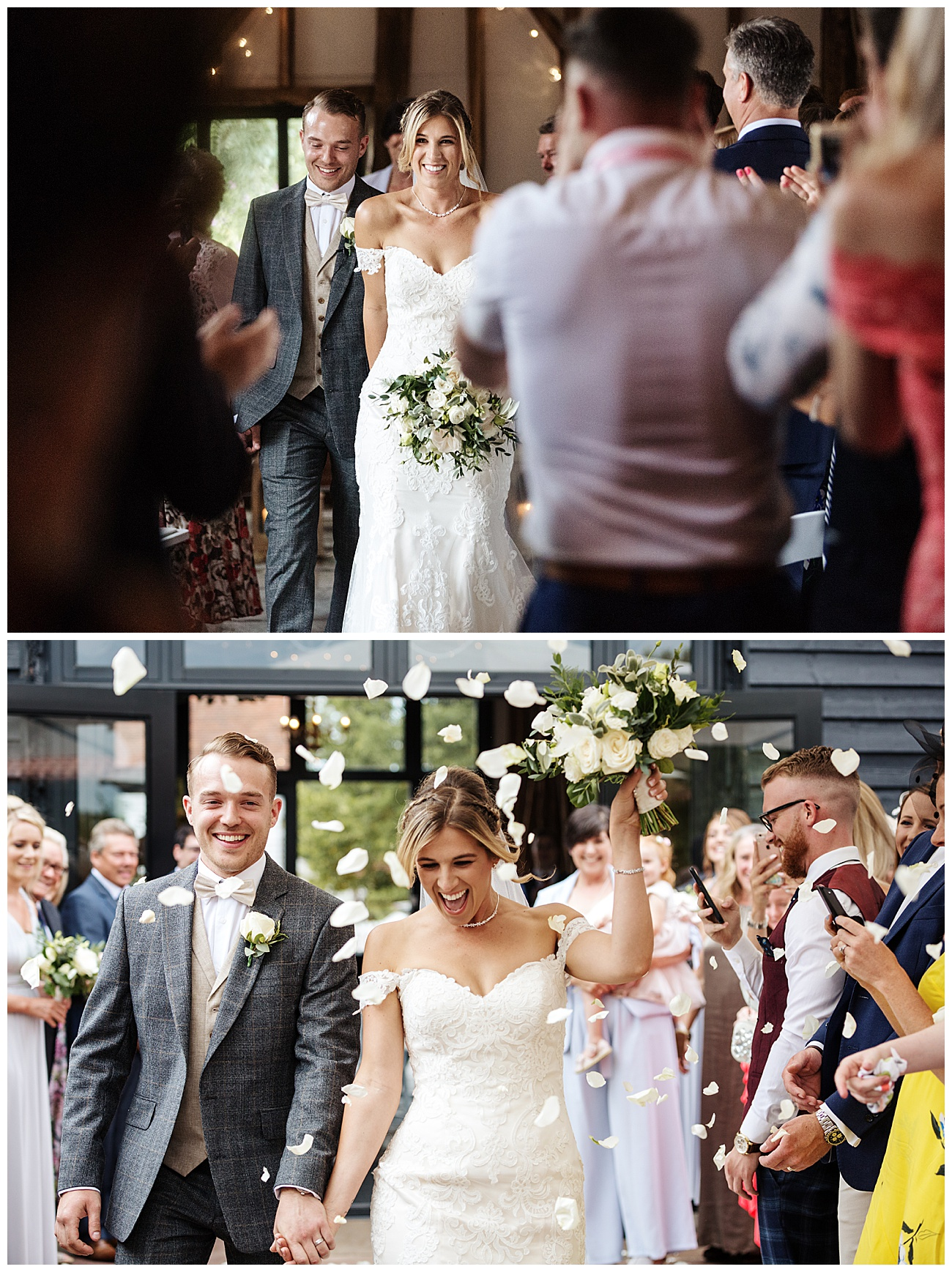 Confetti is thrown over the bride and groom as they walk past their guests