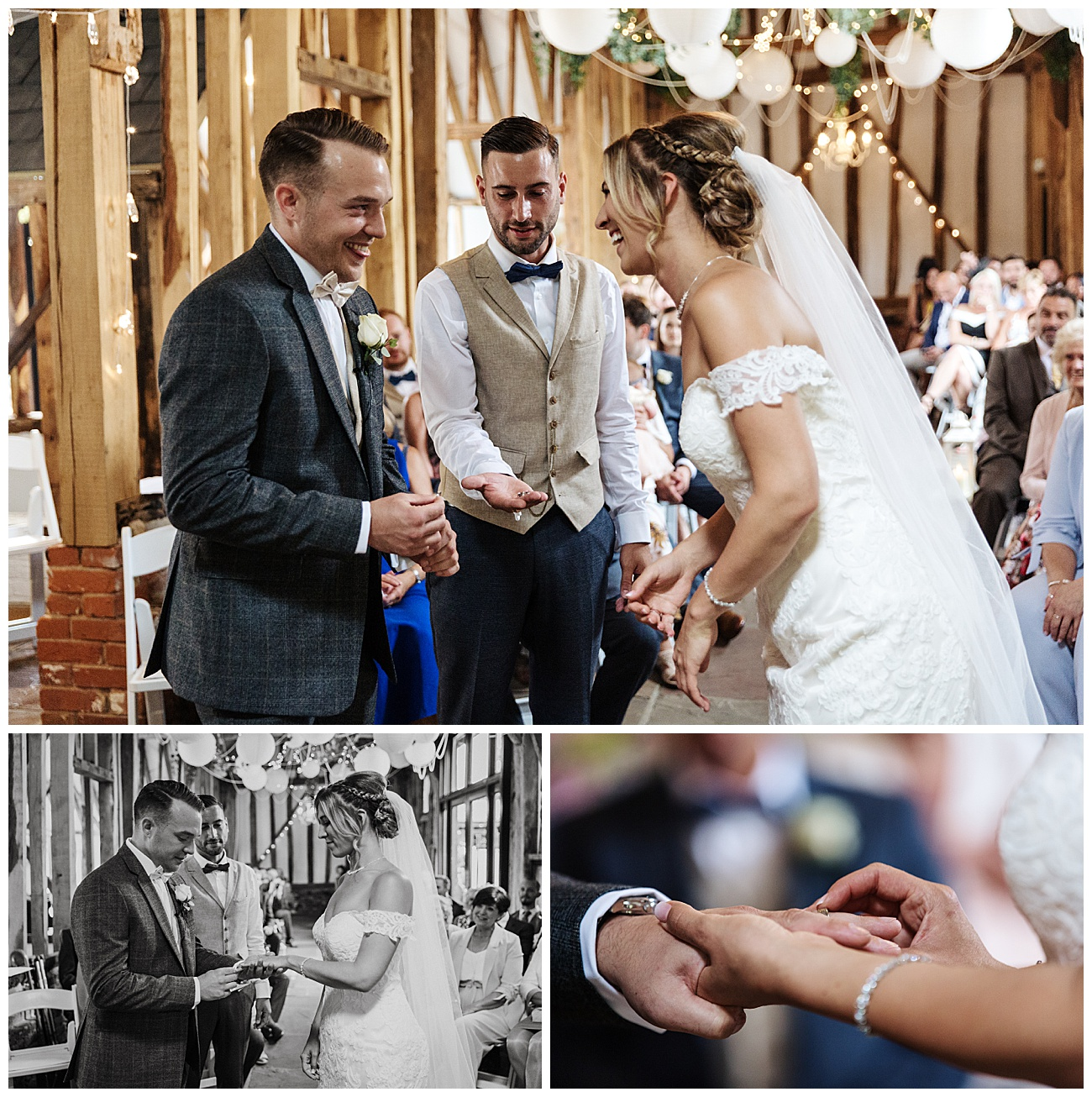 The exchange of wedding rings at the alter