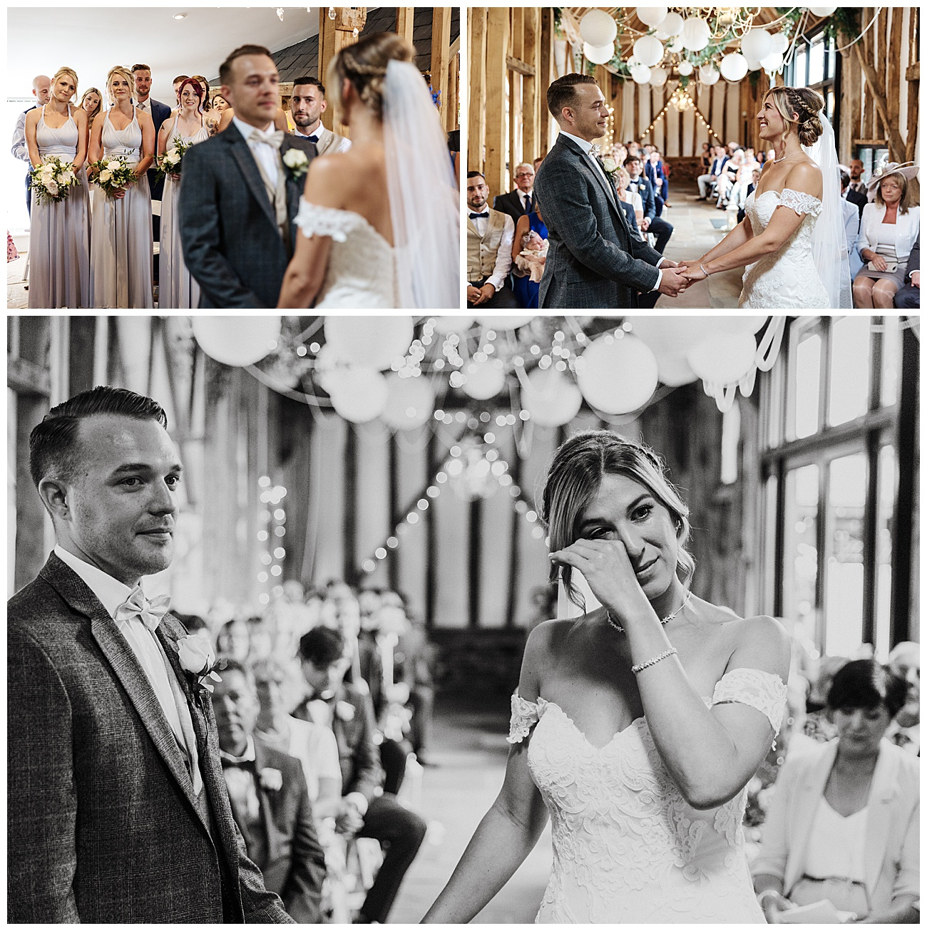 An emotional bride stands with the groom at the alter during the ceremony
