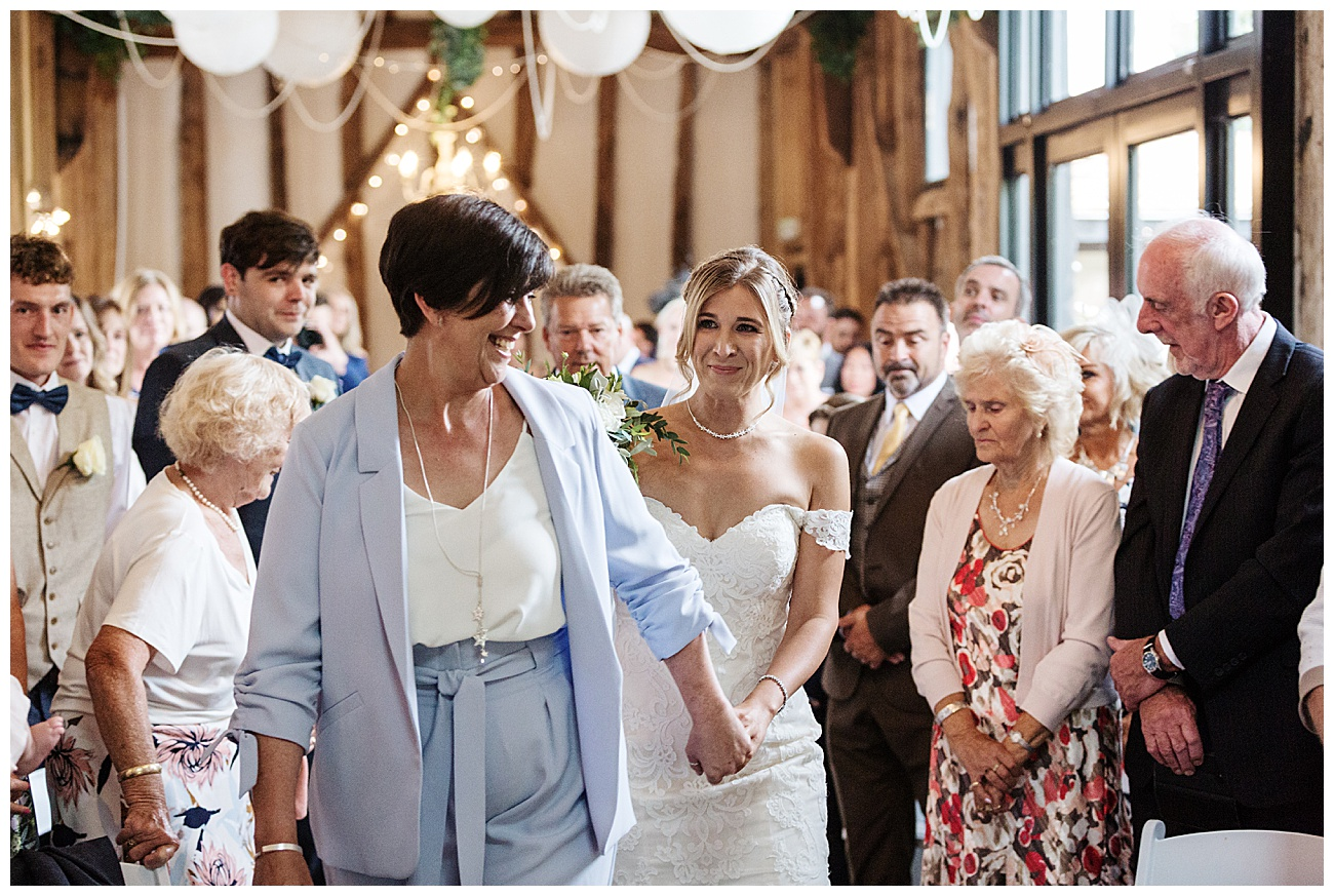 Mum gives bride away down the aisle