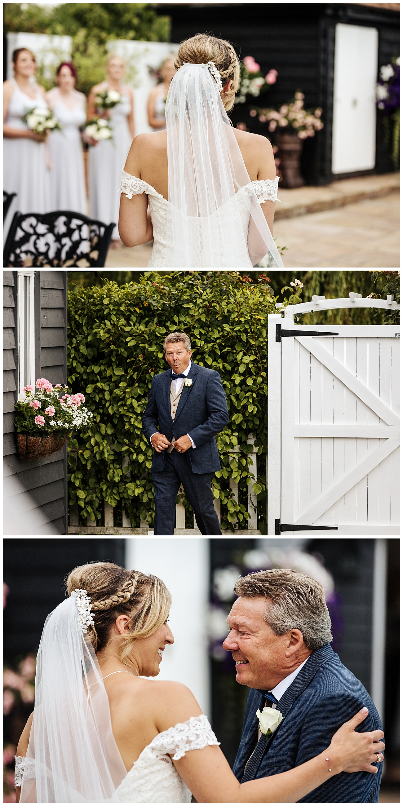 The brides dad sees her for the first time as he enters the bridal cottage smiling