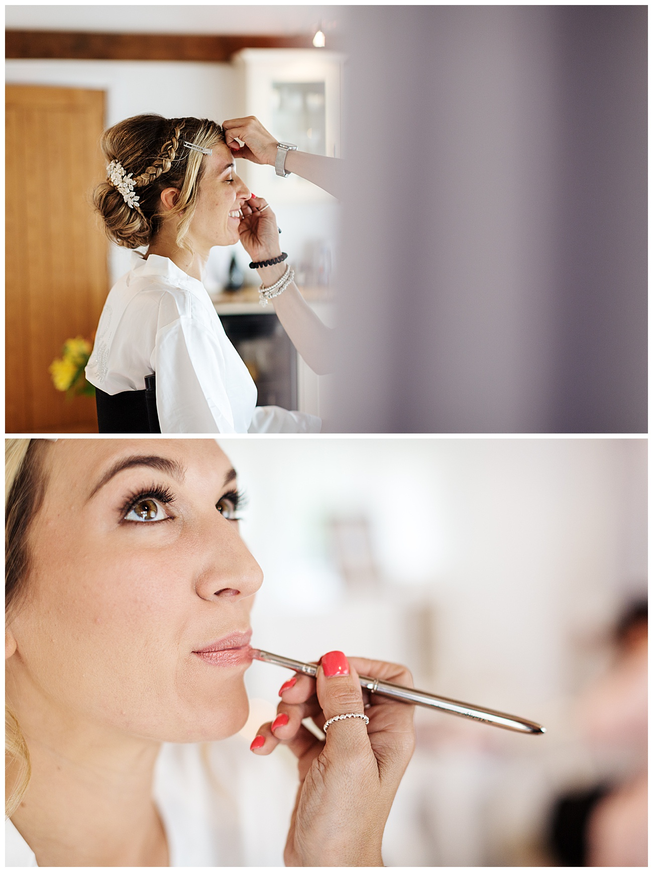 The bride has her hair and makeup done in the bridal cottage