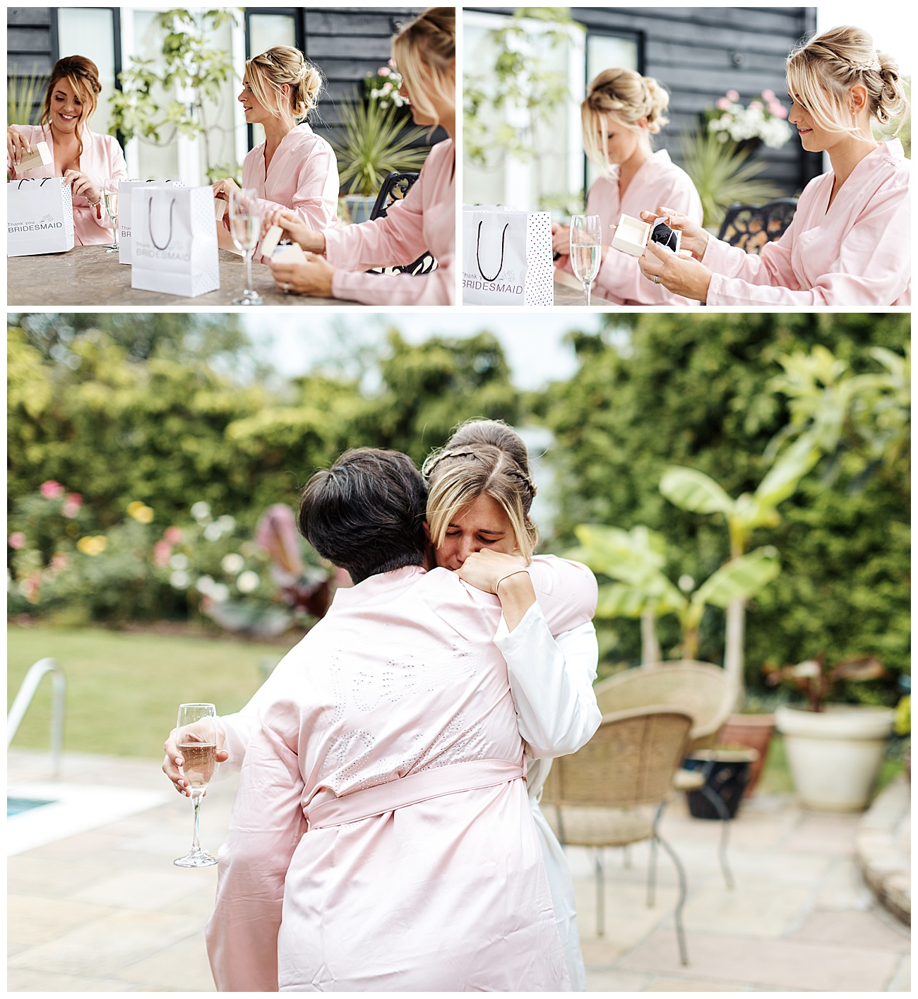An emotional bride hugs her mum as the gifts are given to the bridesmaids
