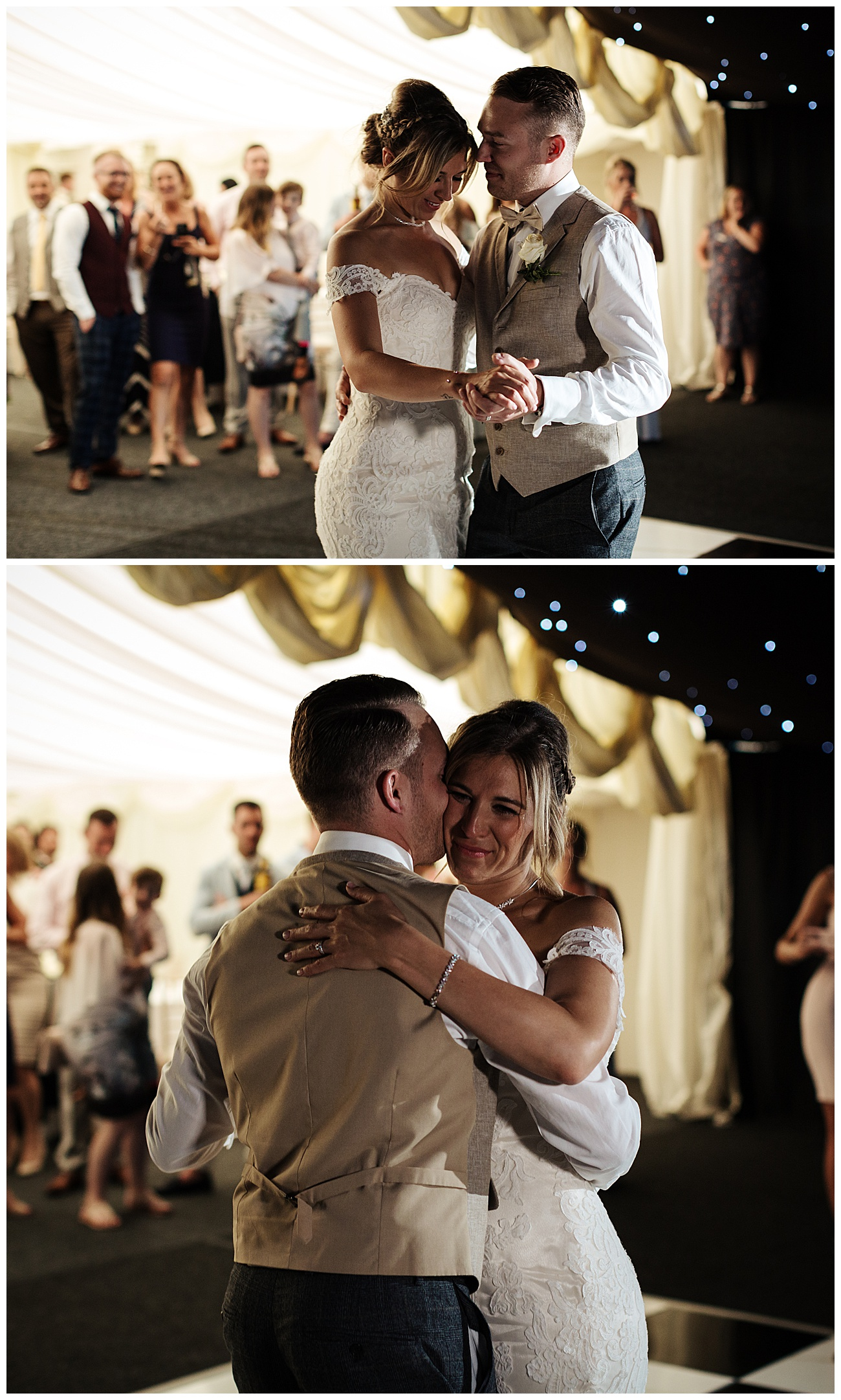 The bride and groom hug during their first dance