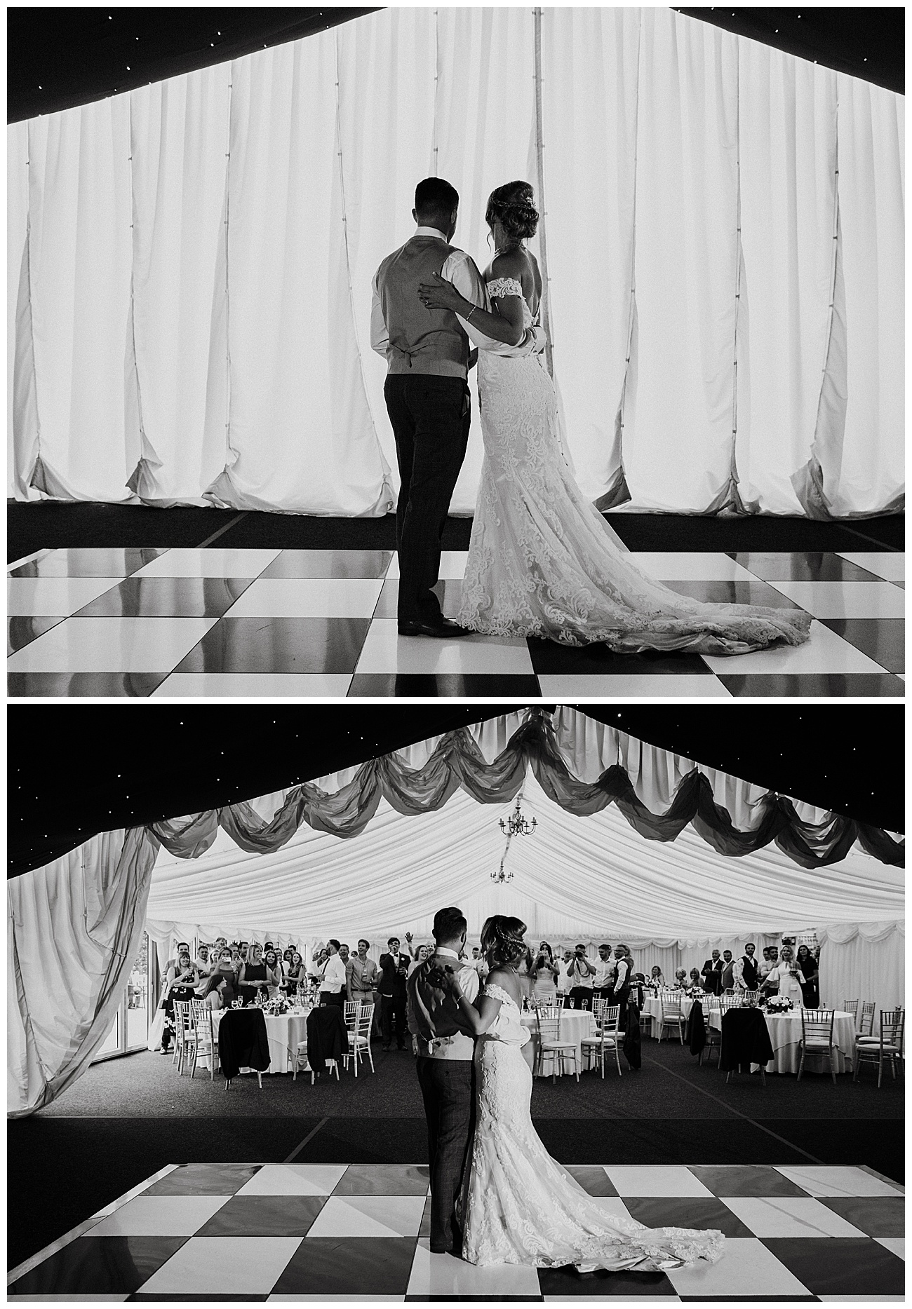 The curtain raises to reveal the bride and groom on the dance floor