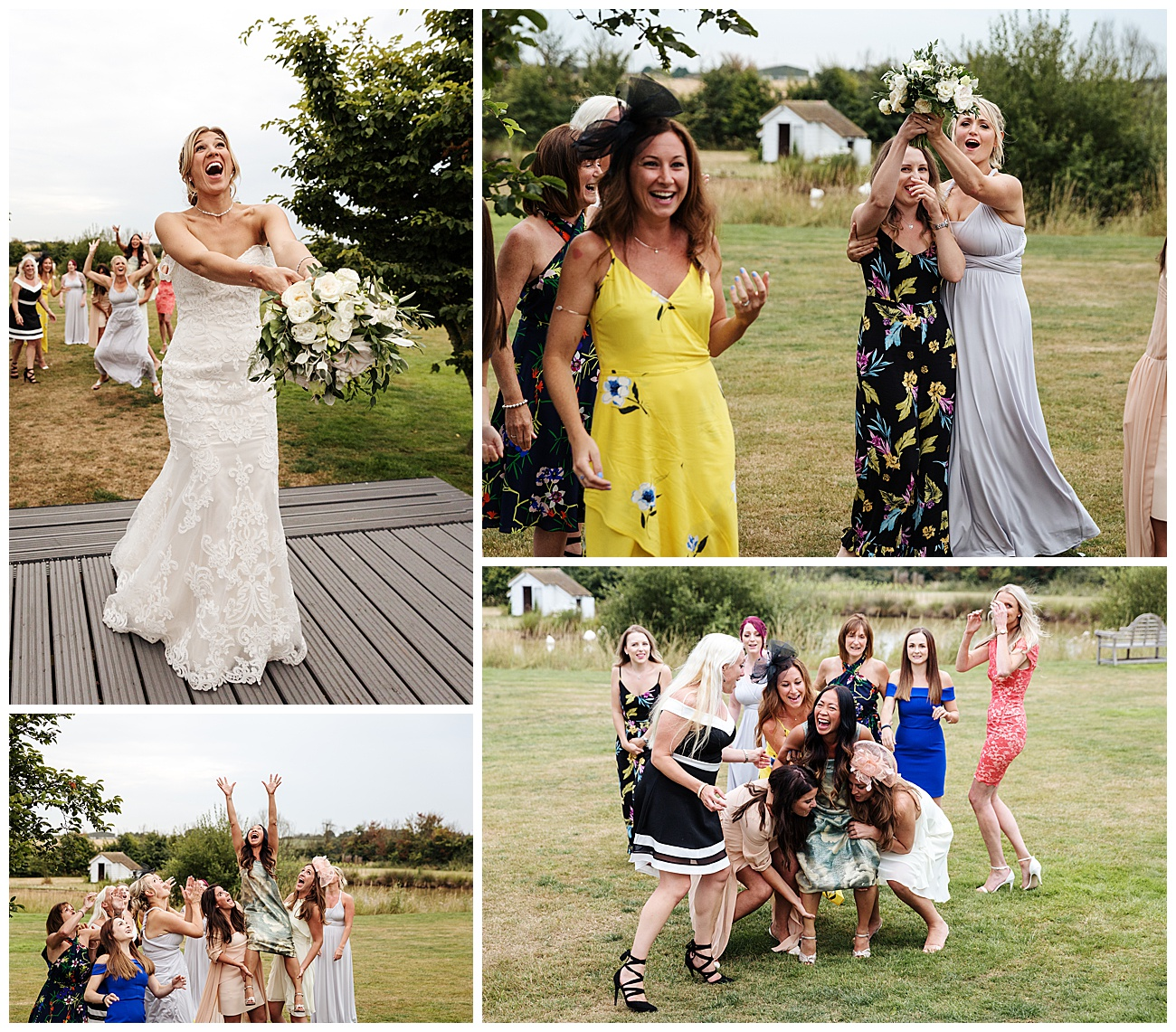 The throwing of the bouquet