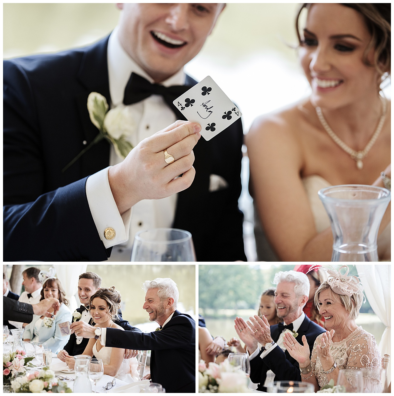 Magician shows his tricks to the bride and groom