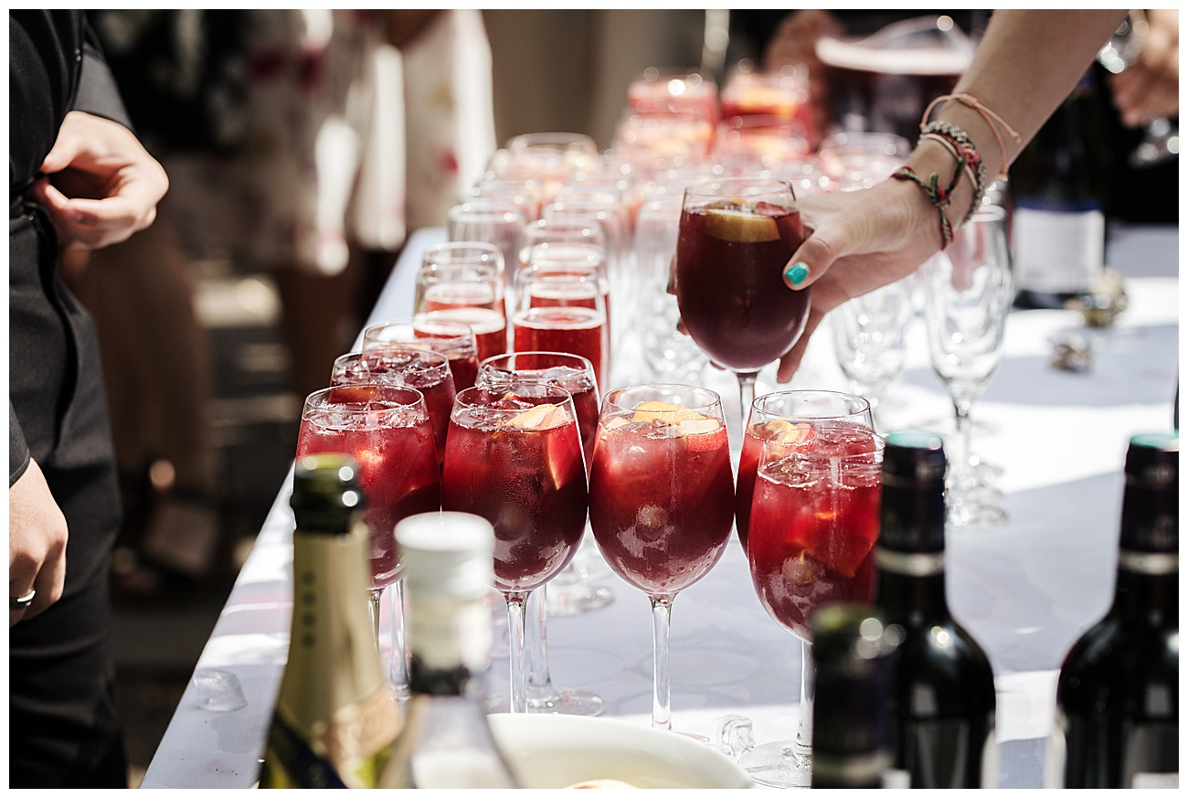 wedding drinks are served to the guests