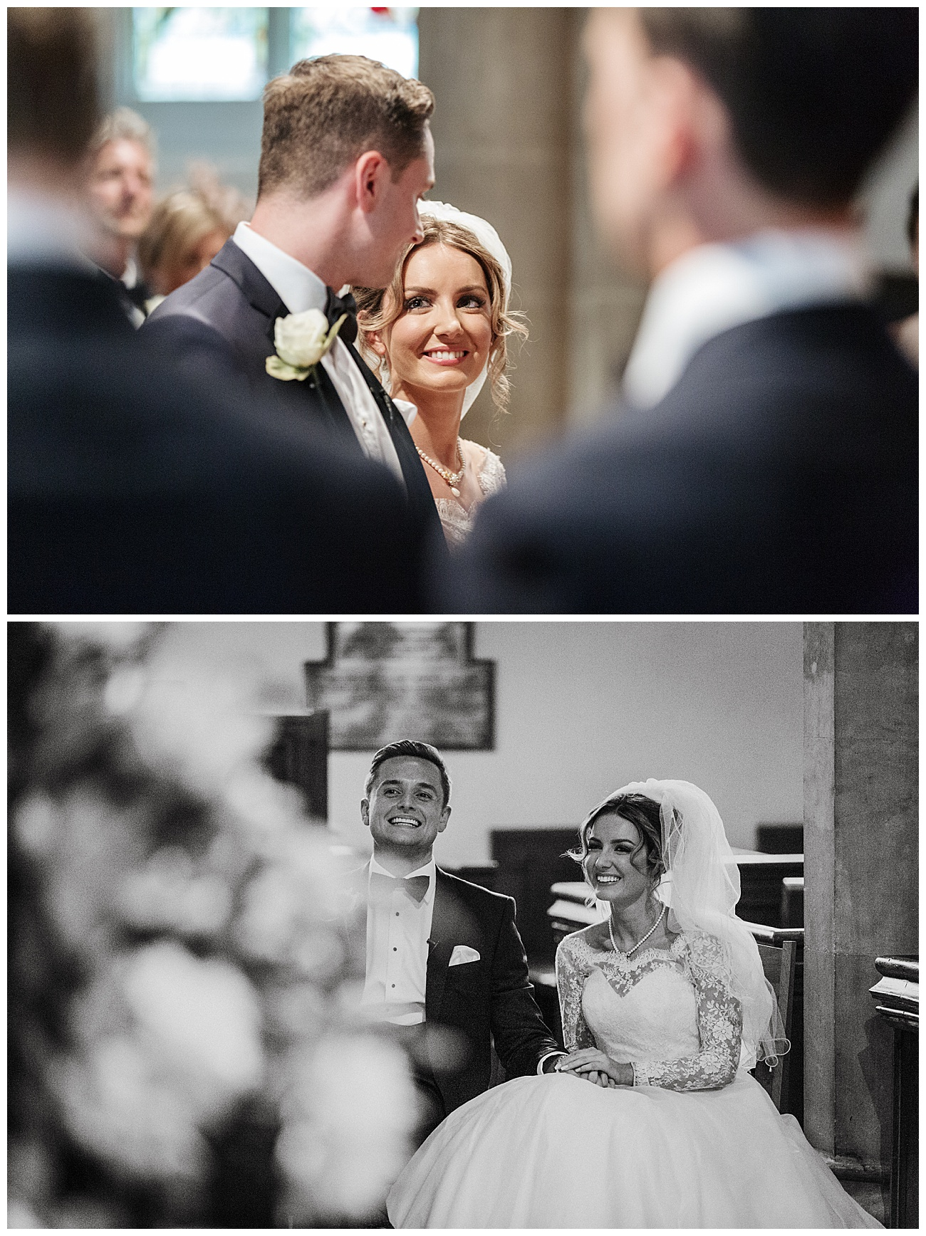 bride looks lovingly at the groom during the ceremony and enjoys a joke while taking a seat