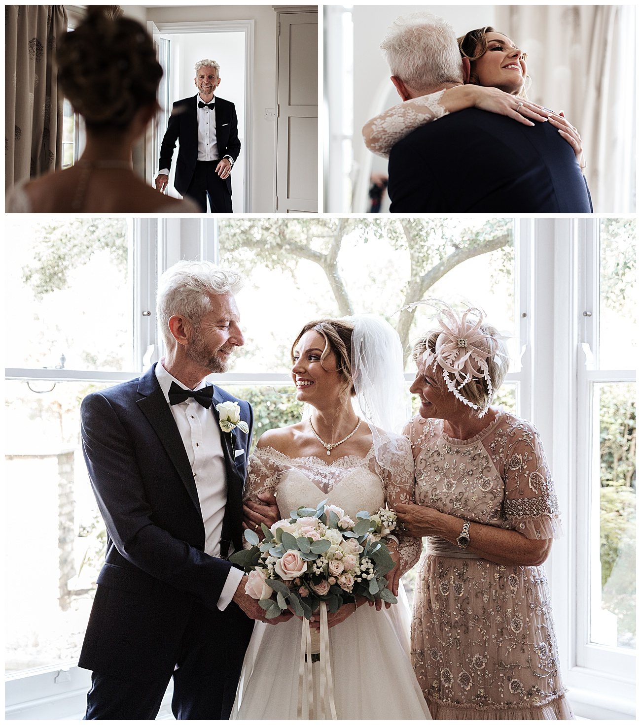 Bride see her dad for the first time and mum joins for a family photo