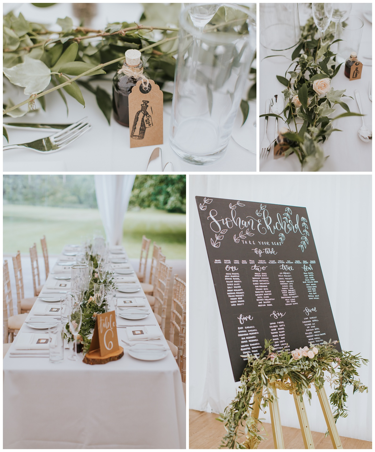 Detail shots of the tables and the seating plan in the marquee at That Amazing Place