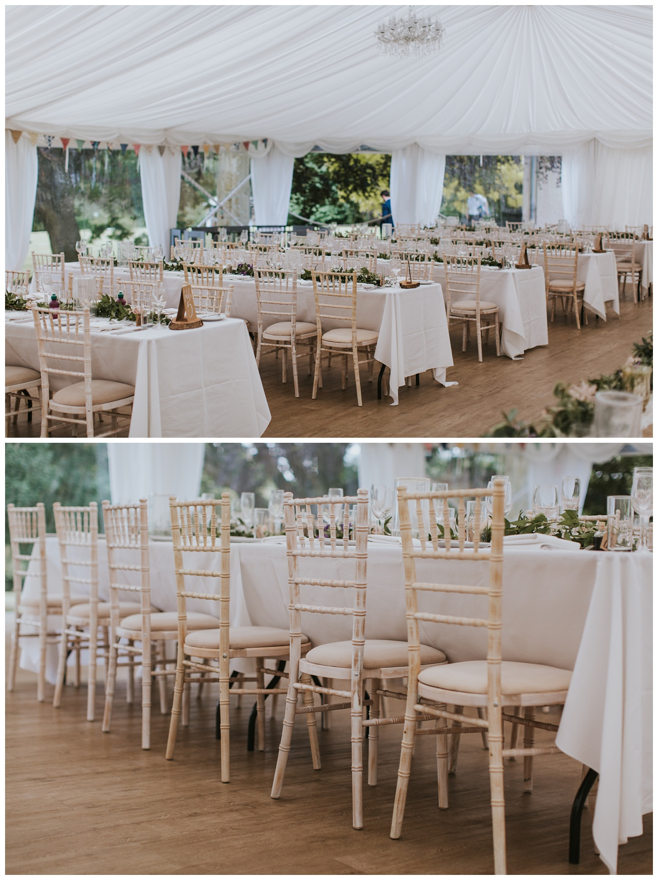 The tables and chairs fully decorated in the marquee at That Amazing Place