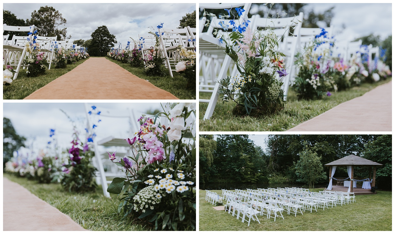 The outdoor wedding setup complete with flowers at That Amazing Place