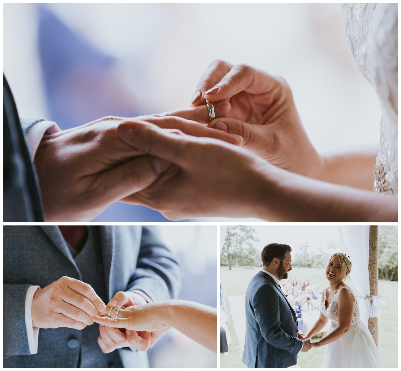 The wedding rings are placed on the fingers during the outdoor ceremony
