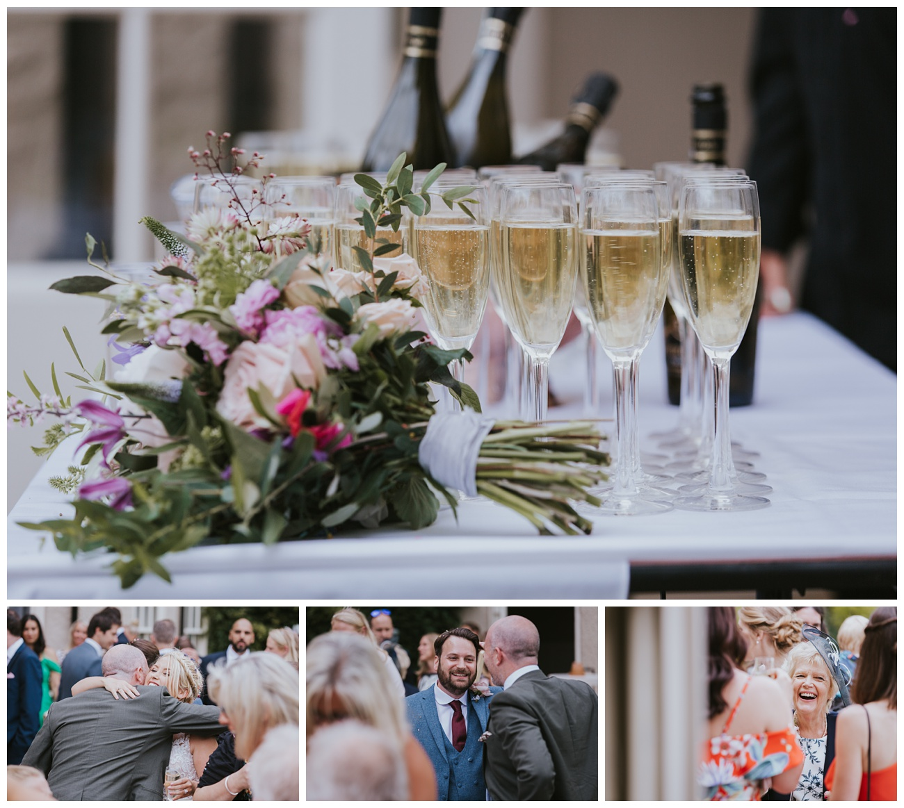 Drinks and guests laughing after the ceremony