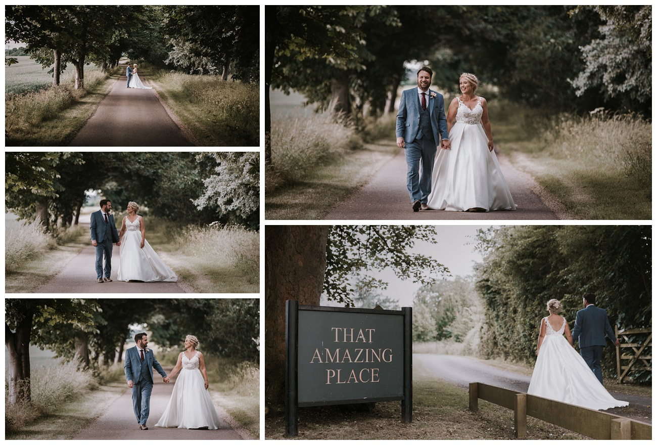 The bride and groom take a stroll down the lane at That Amazing Place