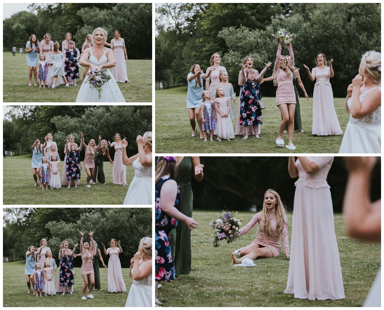 Throwing the bouquet on the field