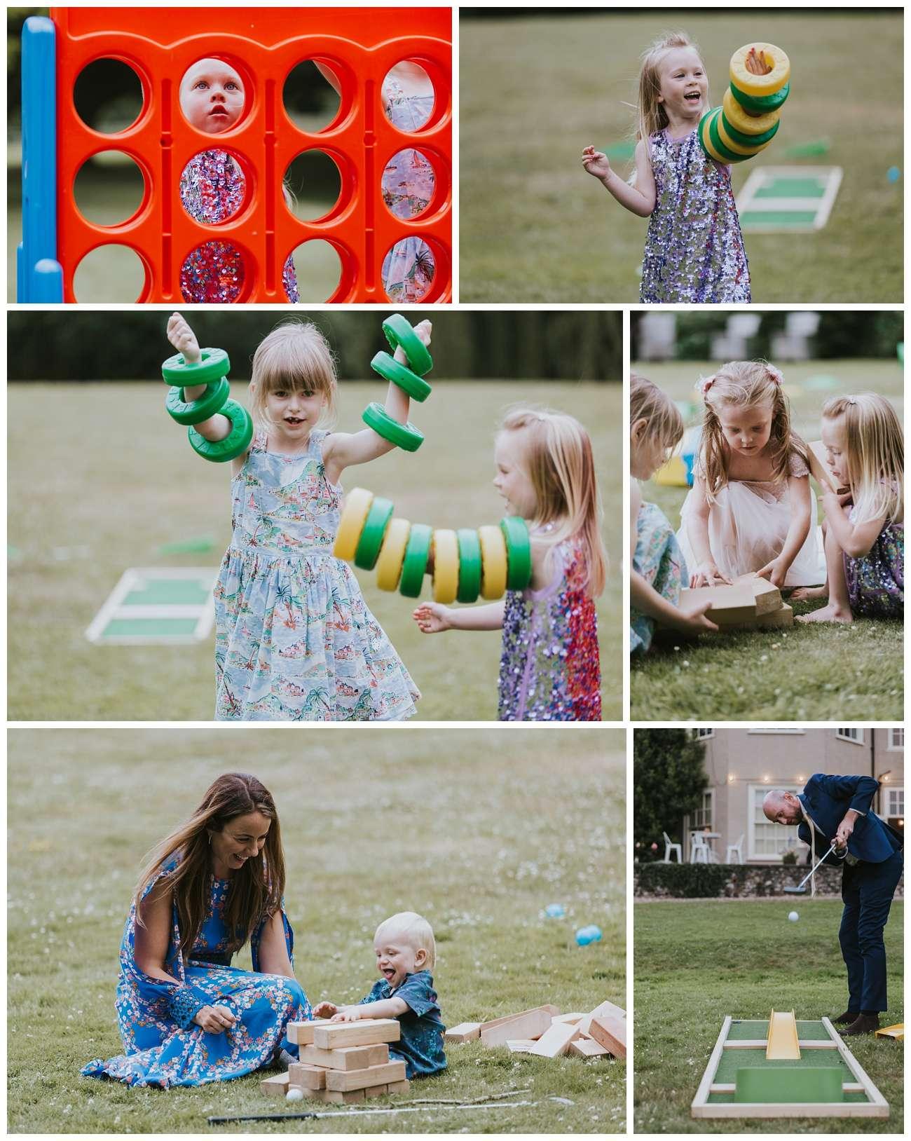 Children play lawn games