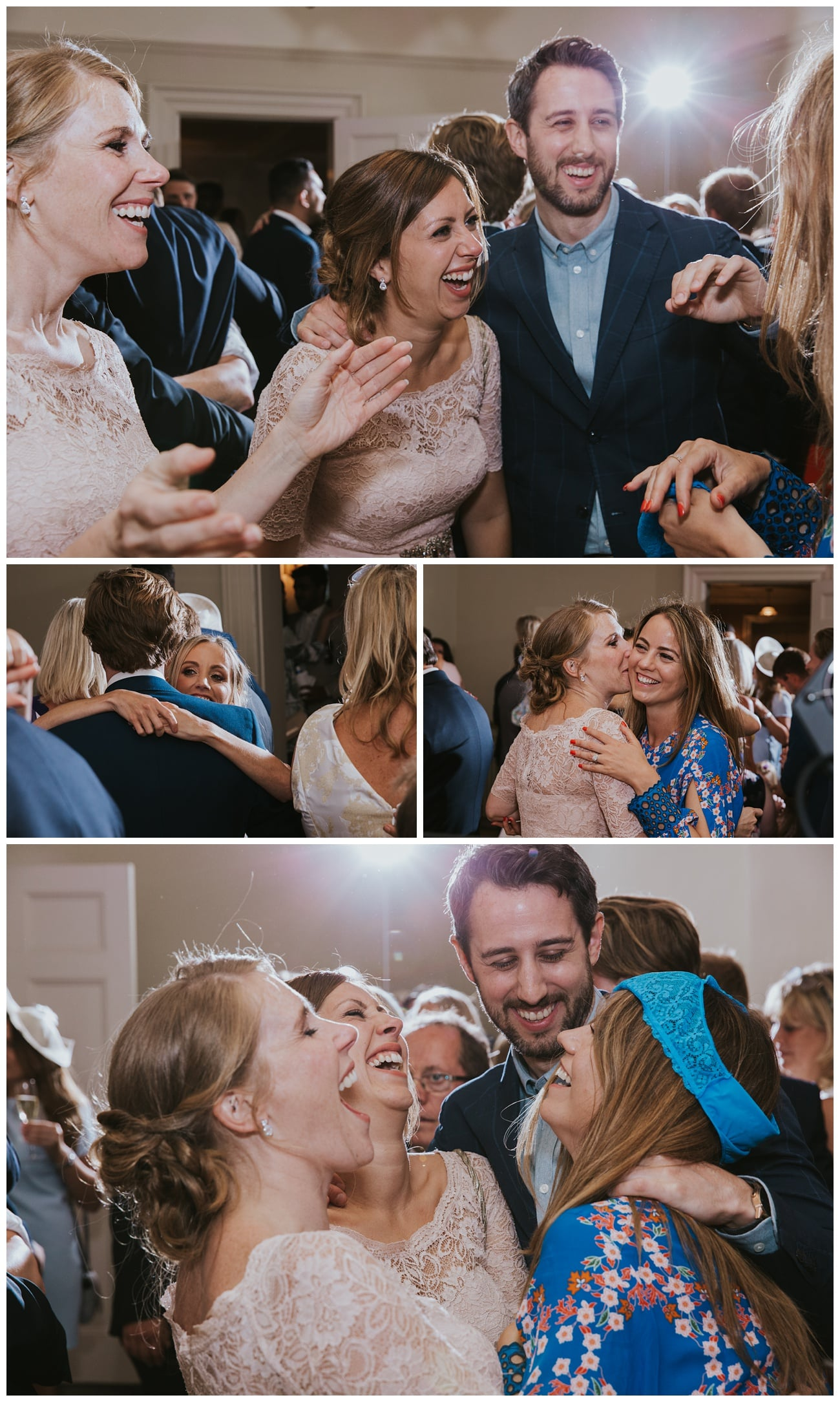 Wedding guests laugh and party on the dance floor at That Amazing Place