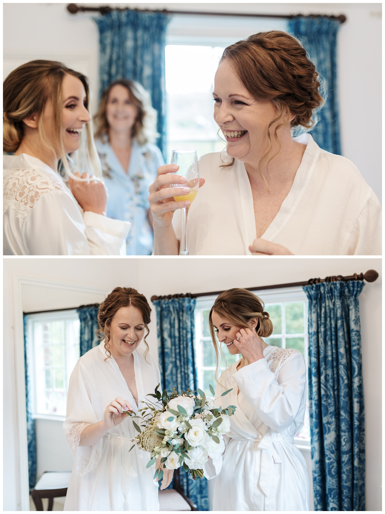 The bride and her bridesmaids laughing together