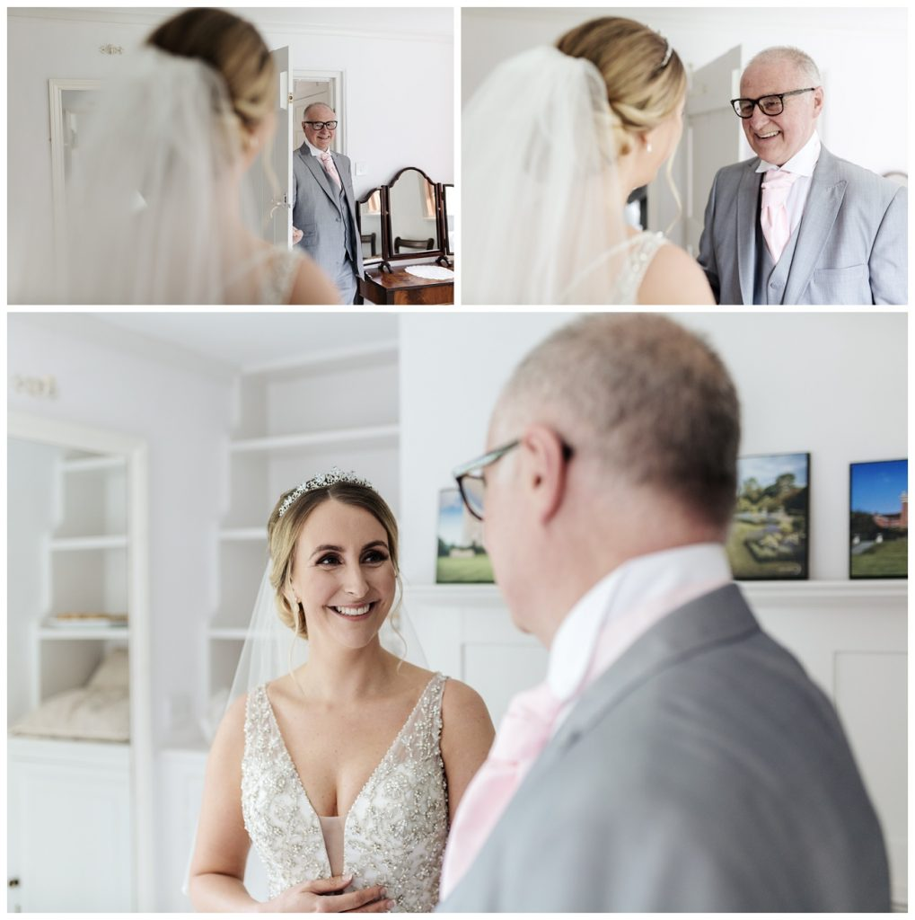 The bride sees her father for the first time in her wedding dress