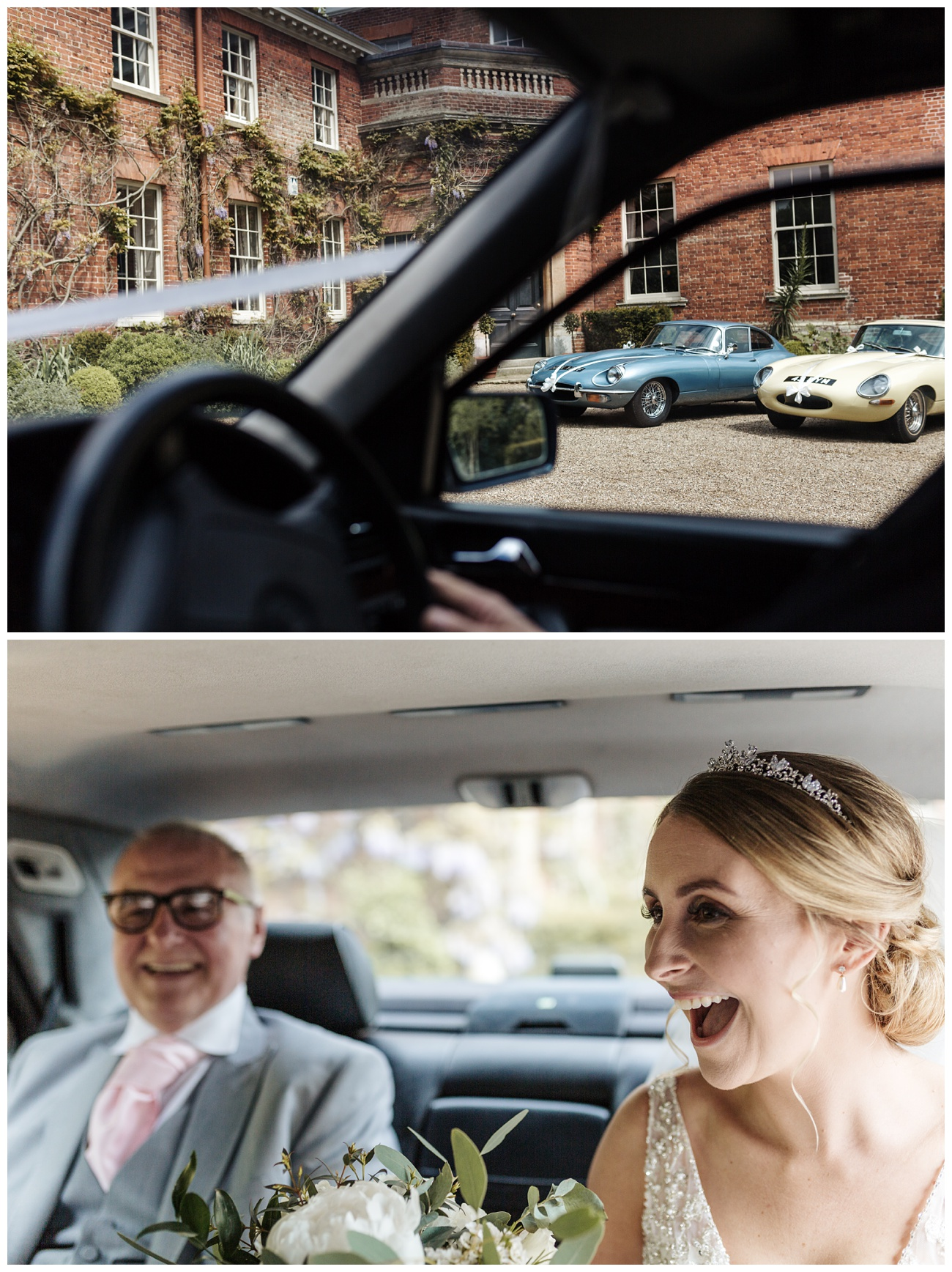 The bride and her father laugh in the wedding car on the way to the castle