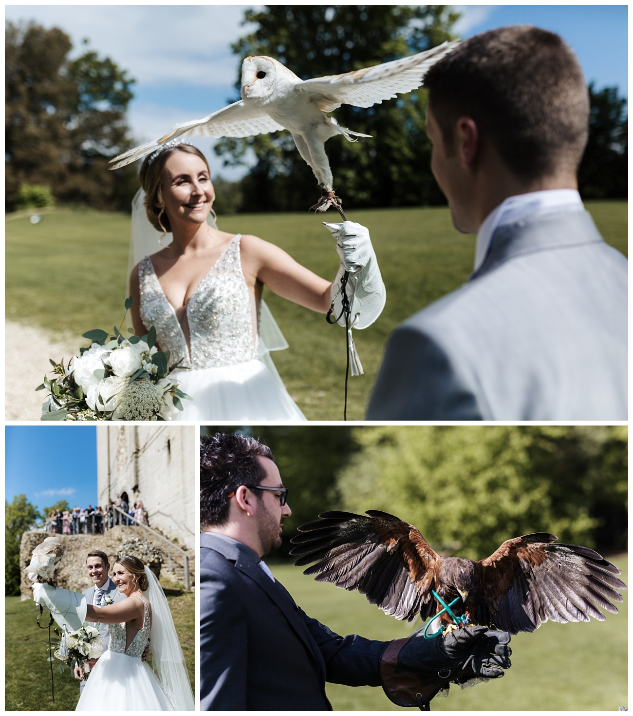 The bride and groom enjoying holding birds of prey in the grounds of the castle