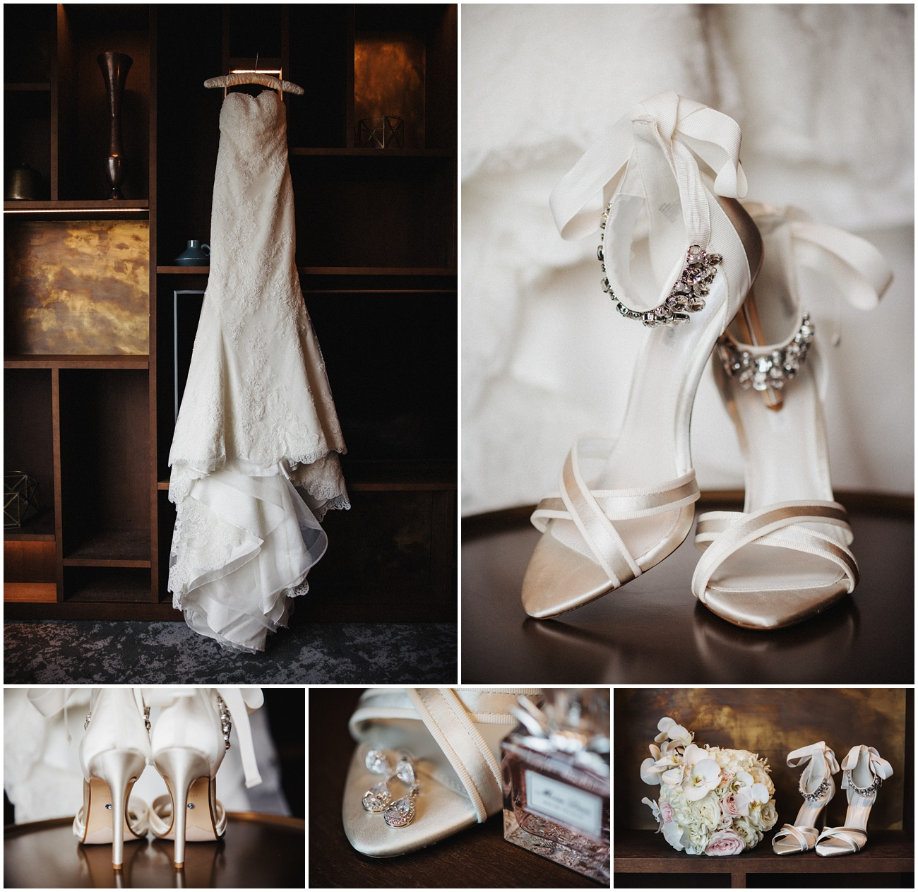 The brides white wedding dress, shoes, jewellery and flowers